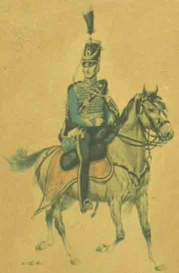 Nederlandse officier in 1825 van het regiment Huzaren no.6