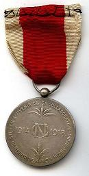 Bonen medaille - Zilver - Achterkant