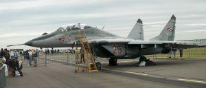 MiG 29 vliegtuig op RAF Waddington