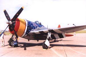 P47 Thunderbolt gevechtsvliegtuig op een vliegshow