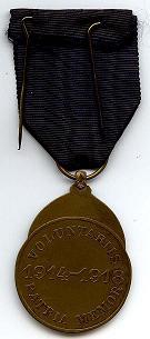 Medaille van de vrijwillige strijder 1914-1918 - Achterkant